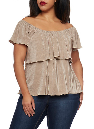 Online Exclusive - Plus Size Crinkled Top with Ruffle Overlay,NUDE,large