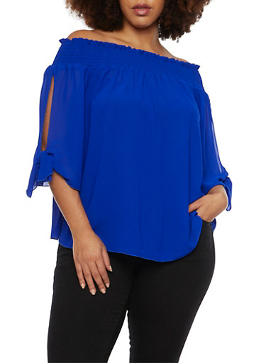 Online Exclusive - Plus Size Off the Shoulder Top with Tied Slit Sleeves,RYL BLUE,large