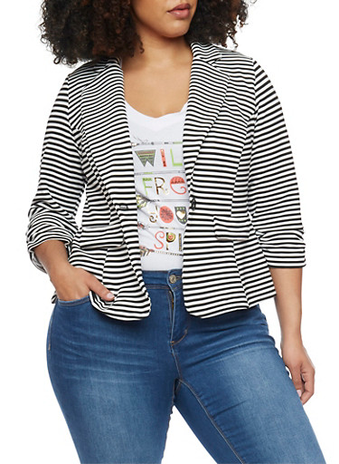 Online Exclusive - Plus Size Striped Knit Blazer with Ruched 3/4 Sleeves,BLACK/WHITE,large