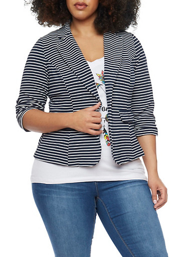 Online Exclusive - Plus Size Striped Knit Blazer with Ruched 3/4 Sleeves,NAVY,large