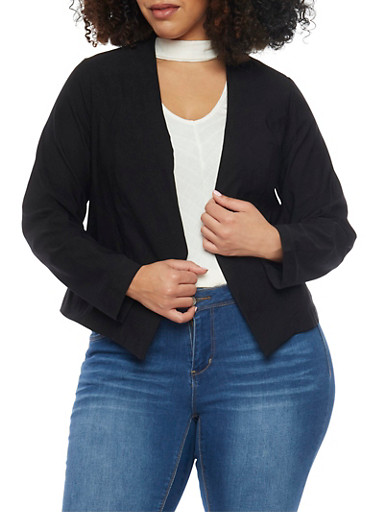 Online Exclusive - Plus Size Long Sleeve Open Blazer,BLACK,large
