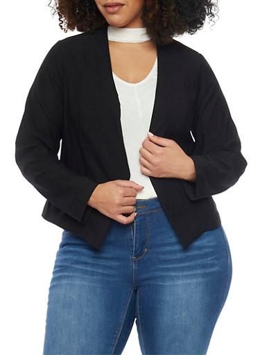 Online Exclusive - Plus Size Long Sleeve Open Blazer,BLACK,large