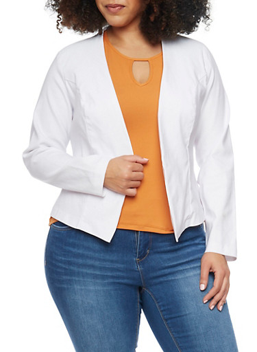 Online Exclusive - Plus Size Long Sleeve Open Blazer,WHITE,large