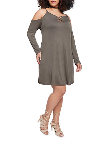 Online Exclusive - Plus Size Long Sleeve Cold Shoulder Dress with Lace Up Neck,OLIVE,large