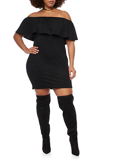 Plus Size Off the Shoulder Dress with Ruffle Neckline,BLACK,large