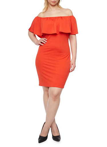 Online Exclusive - Plus Size Off the Shoulder Dress with Ruffle Neckline,TANGERINE,large