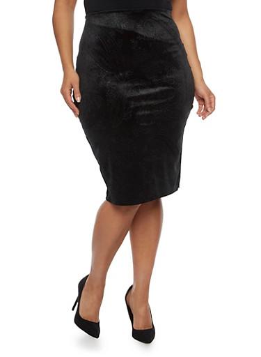Plus Size Midi Skirt in Embossed Velvet,BLACK,large