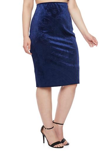 Online Exclusive - Plus Size Midi Skirt in Embossed Velvet,NAVY,large