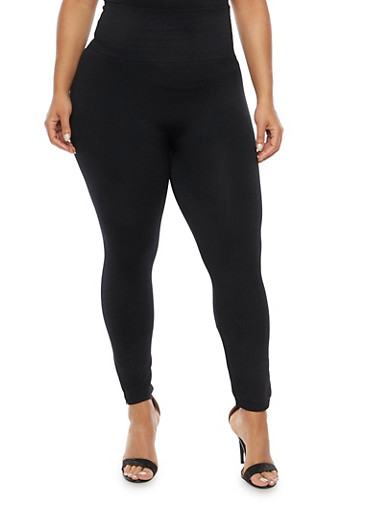 Online Exclusive - Plus Size High Waisted Solid Leggings,BLACK,large