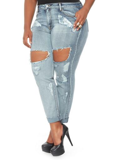 Plus-Size Destroyed Jeans - Rainbow