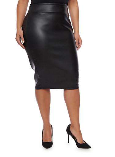 Online Exclusive - Plus Size Faux Leather Pencil Skirt,BLACK,large