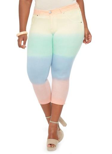 Plus-Size Rainbow Tie-Dye Capris Pants - Rainbow