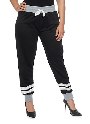 Online Exclusive - Plus Size French Terry Love Joggers,BLACK,large