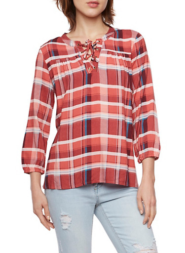 Plaid Top with Lace Up Neck,TERRA COTTA,large