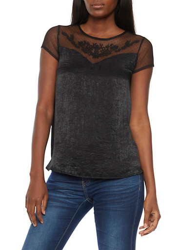 Short Sleeve Satin Blouse with Lace Detail,BLACK,large