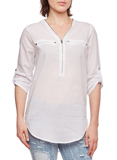 Zip-Up V-Neck Tunic Top with Faux Welt Pockets,WHITE,large