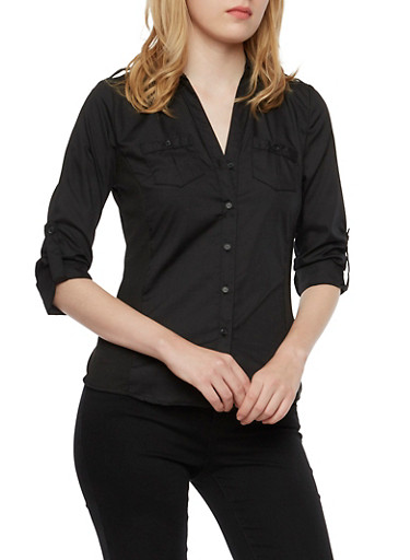 Button Front Shirt with Rib Knit Side Panels,BLACK,large