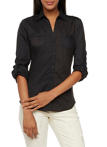 Button Front Shirt with Rib Knit Paneling,BLACK,large