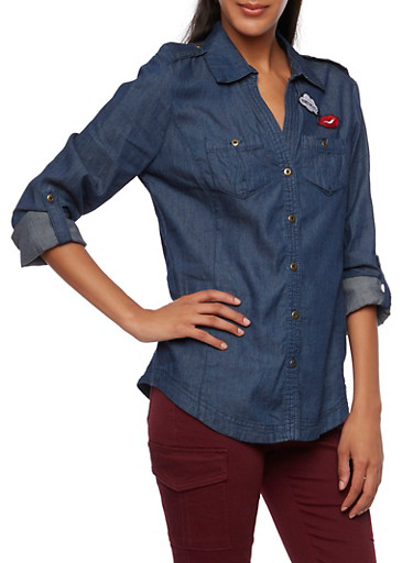 Denim Tunic Top with Cheeky Patches,DARK WASH,large