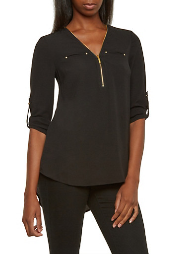 High-Low Top with Zipper Neckline,BLACK,large