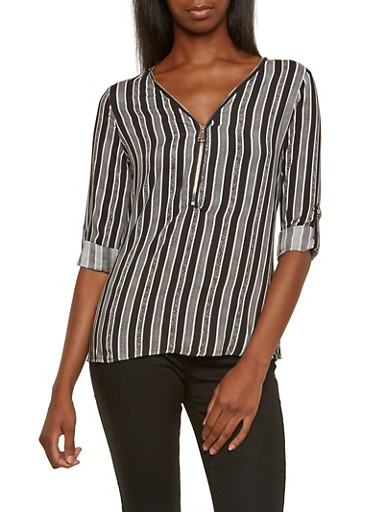 Striped Print Blouse with Zipper Neck and Convertible Sleeves,BLACK/WHITE,large