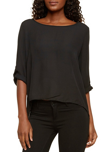 Top with Flyaway Back and Buttons,BLACK,large
