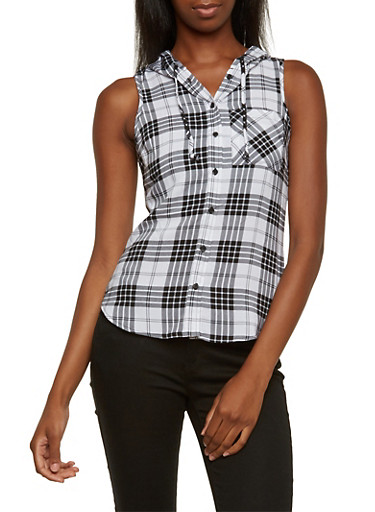 Plaid Top with Attached Hood,WHT-BLK,large
