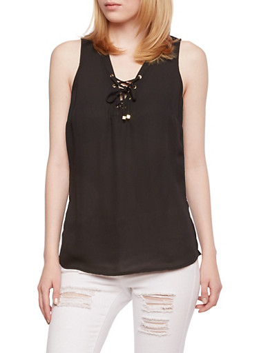 Lace-Up Tank Top with Side Slits,BLACK,large