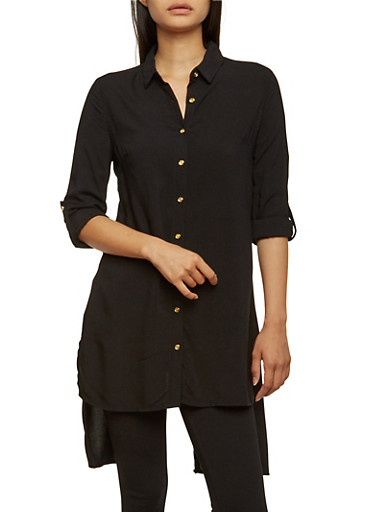 Button Front Tunic Top with Split Back,BLACK,large