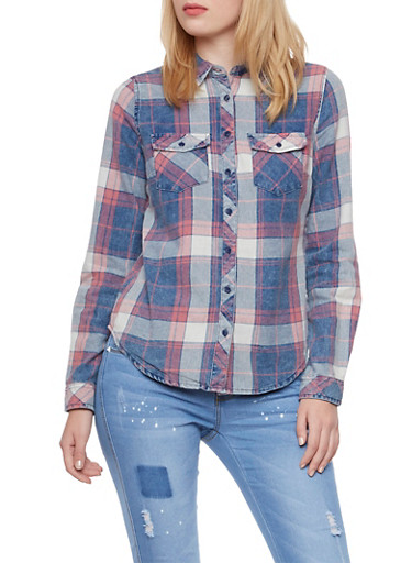 Faded Plaid Boyfriend Button-Down Shirt,RED,large