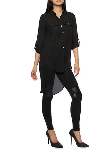 Sheer Button Front High Low Top,BLACK,large