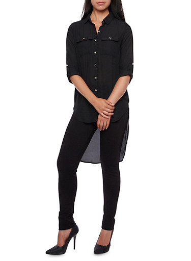 Chiffon Duster Blouse with High-Low Hem,BLACK,large