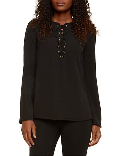 Crepe Lace-Up Top,BLACK,large