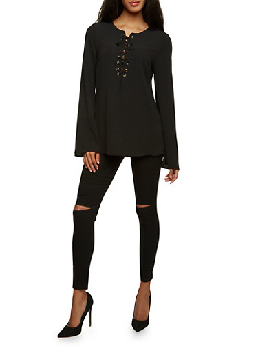 Lace-Up Top with Bell Sleeves,BLACK,large