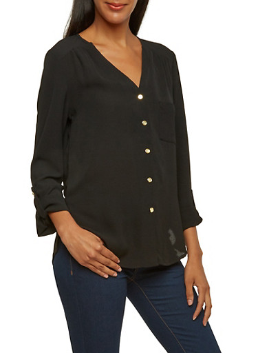 Crepe Blouse with Button-Cuff Sleeves,BLACK,large