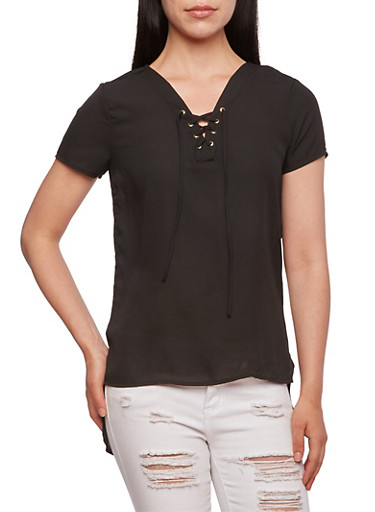 Semi-Sheer Top with Lace-Up V-Neck,BLACK,large