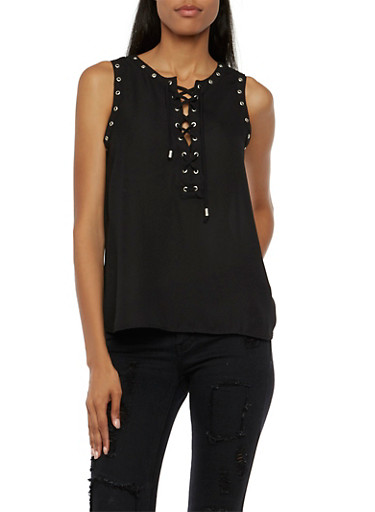 Chiffon Tank Top with Lace-Up Front,BLACK,large