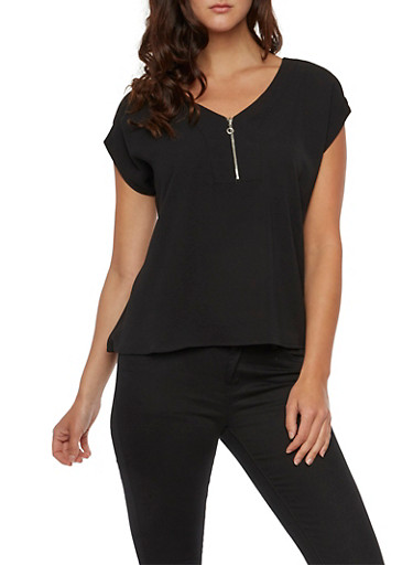 Crepe Top with Zipper Neckline,BLACK,large