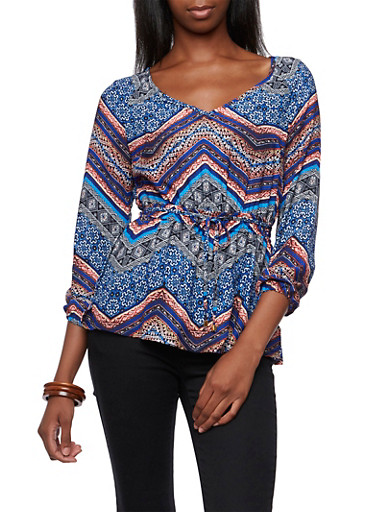 Drawstring Waist Top with Aztec Print,BLACK/WHITE,large