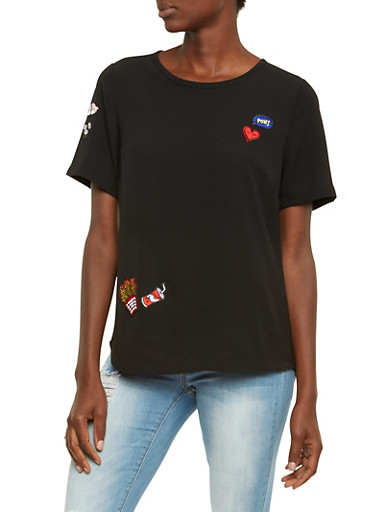 Crepe Top with Sewn Patches,BLACK,large