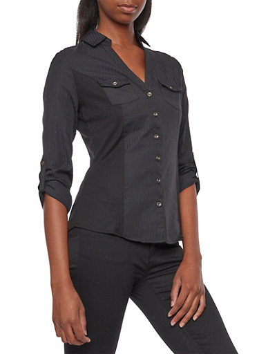 Jacquard Striped Button-Up Top with Rib-Knit Insets,BLACK,large