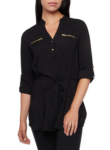 Mandarin Collar Tunic Top with Tie Waist,BLACK,large