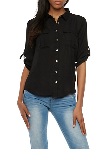 Chiffon Button-Up Top with Metallic Buttons,BLACK,large
