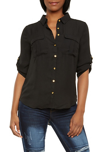 Chiffon Button Front Top with Chest Pockets,BLACK,large
