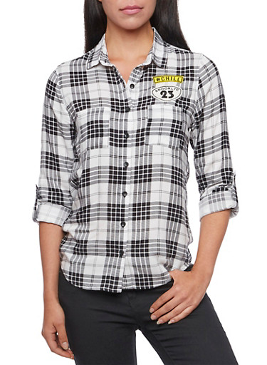 Plaid Button-Down Top with Patches,BLACK/WHITE,large