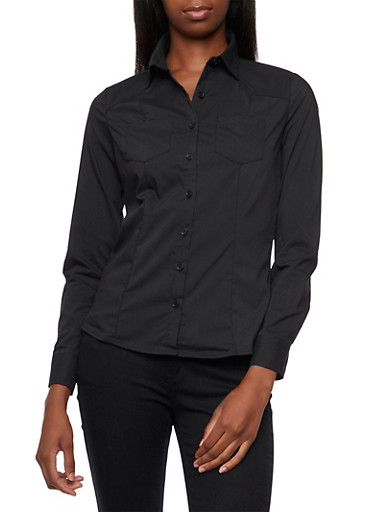 Basic Long Sleeve Button-Down Top,BLACK,large
