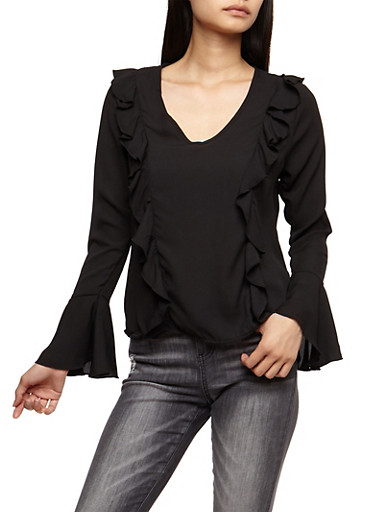 Ruffled Blouse with Bell Sleeves,BLACK,large