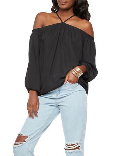 Off the Shoulder Long Sleeve Top,BLACK,large
