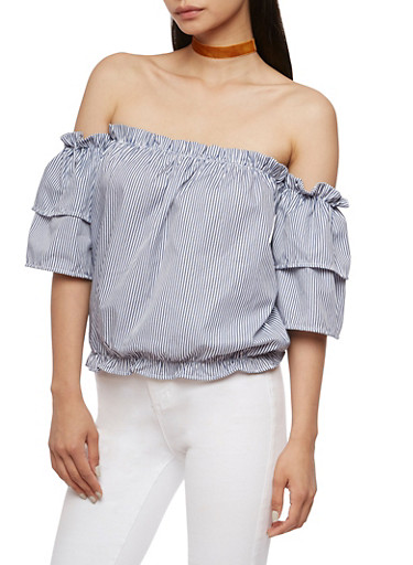 Off the Shoulder Striped Bubble Top,NAVY/WHT,large