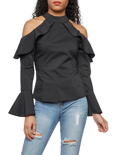 Bell Sleeve Cold Shoulder Top,BLACK,large